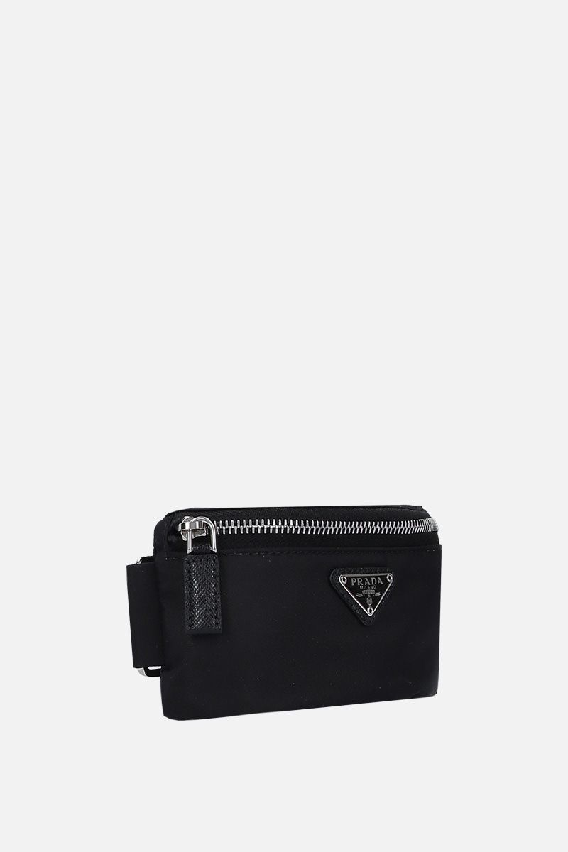 PRADA: Saffiano leather-detailed nylon arm fanny pack Color Black_2
