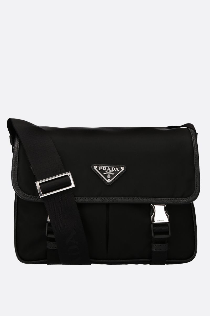 PRADA: nylon crossbody bag with Saffiano details Color Black_2
