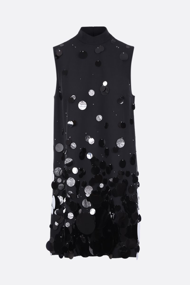 PRADA: sequinned sablè sleeveless dress Color Black_1