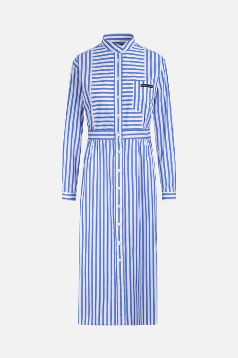 PRADA: striped poplin shirt dress Color Blue_1