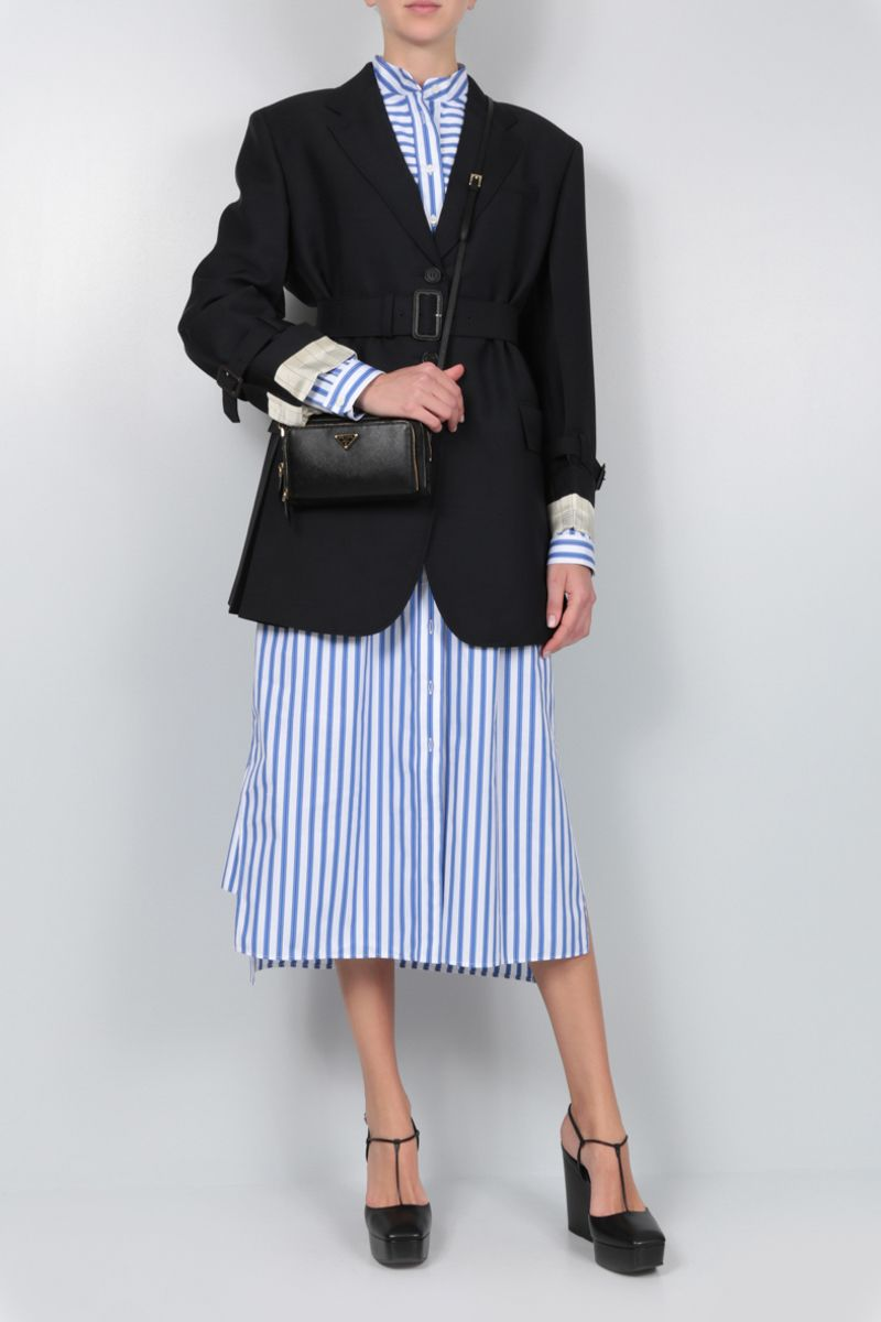 PRADA: striped poplin shirt dress Color Blue_2