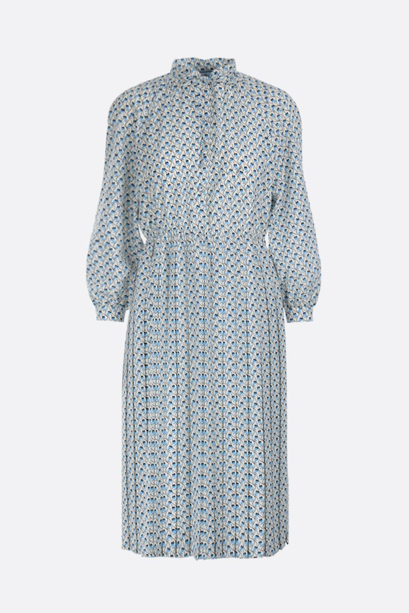 PRADA: Ramage print crepe de chine shirt dress Color White_1