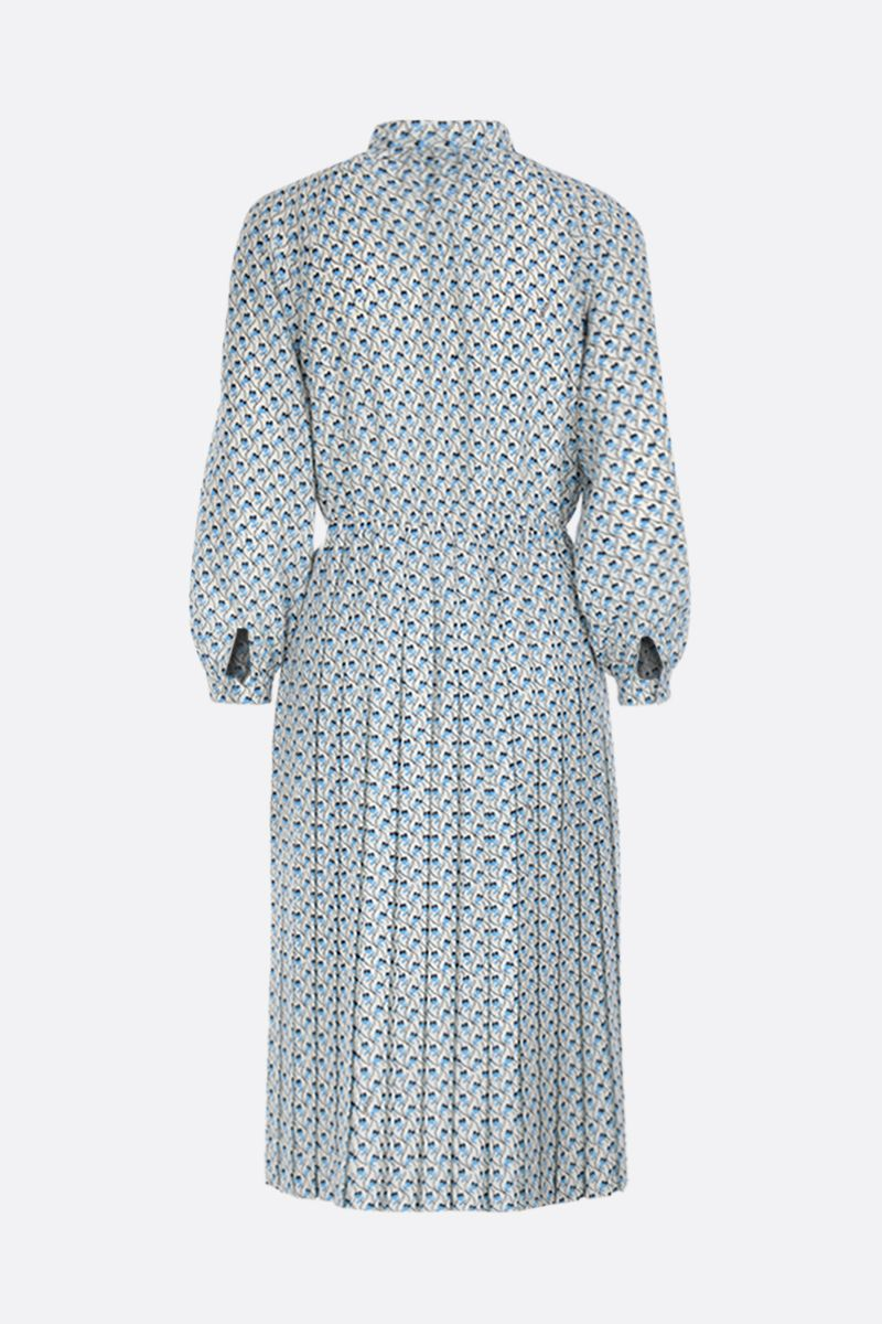 PRADA: Ramage print crepe de chine shirt dress Color White_2