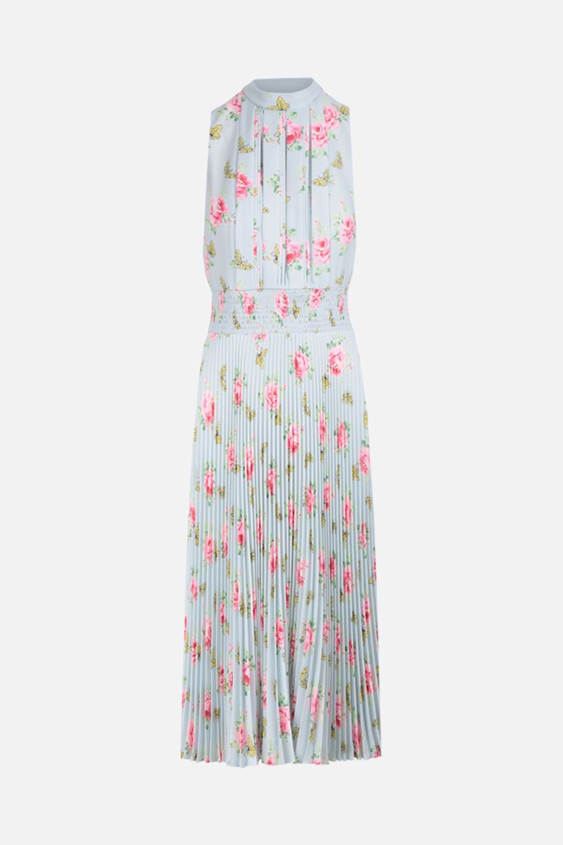 PRADA: roses printed sablè sleeveless dress Color Blue_1