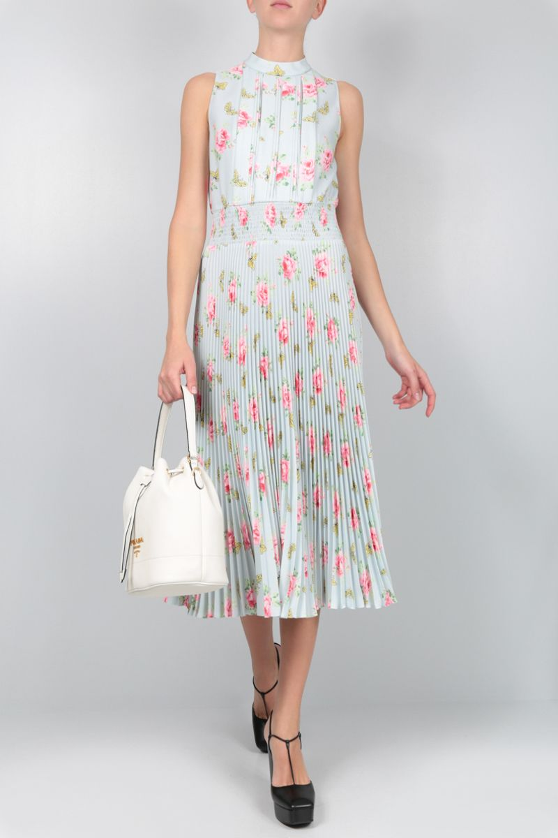 PRADA: roses printed sablè sleeveless dress Color Blue_2