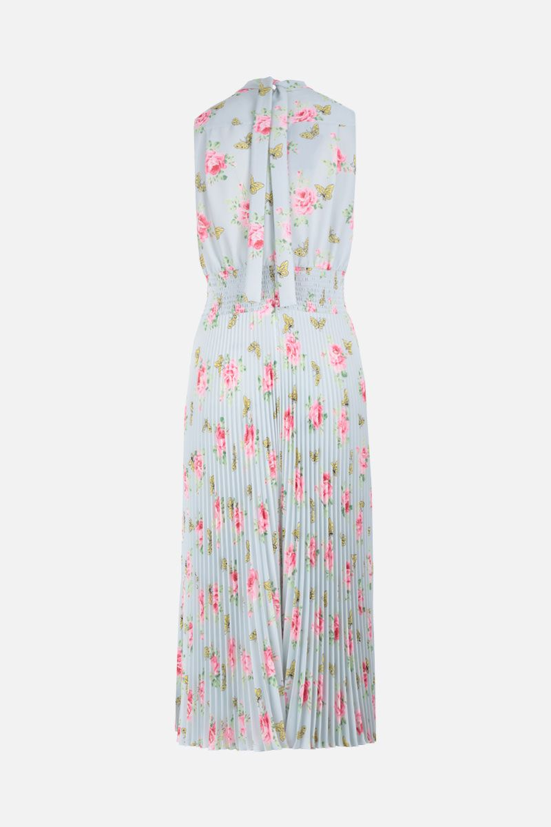 PRADA: roses printed sablè sleeveless dress Color Blue_3