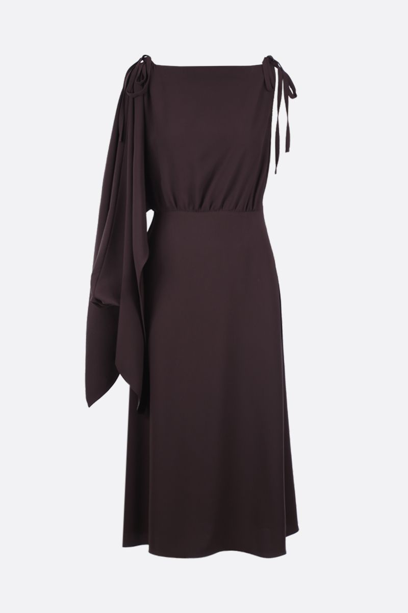 PRADA: sablè crepe one-shoulder dress Color Brown_1