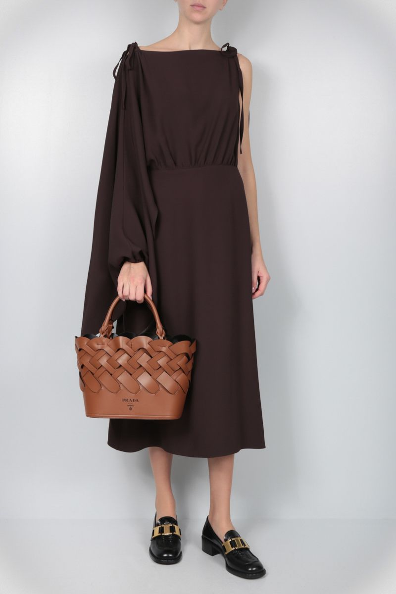 PRADA: sablè crepe one-shoulder dress Color Brown_2