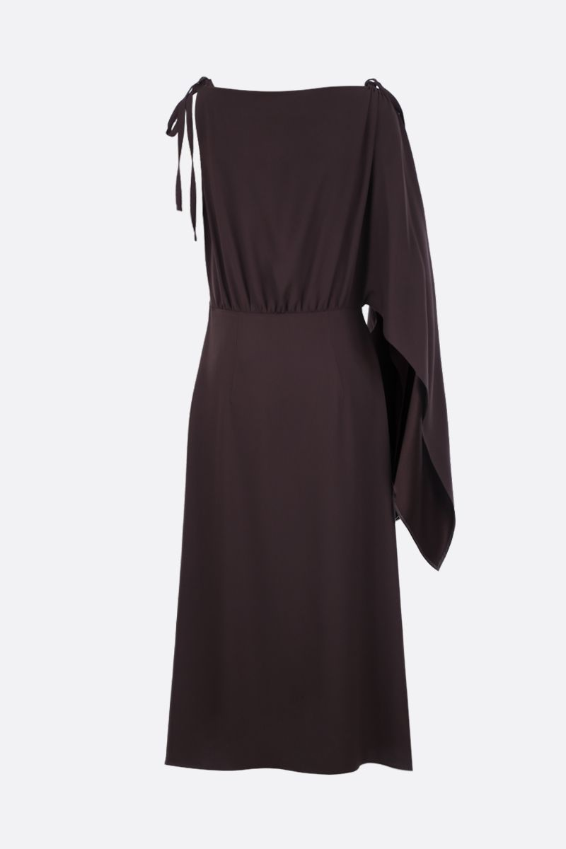 PRADA: sablè crepe one-shoulder dress Color Brown_3
