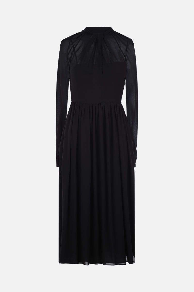 PRADA: sablè crepe midi dress Color Black_1