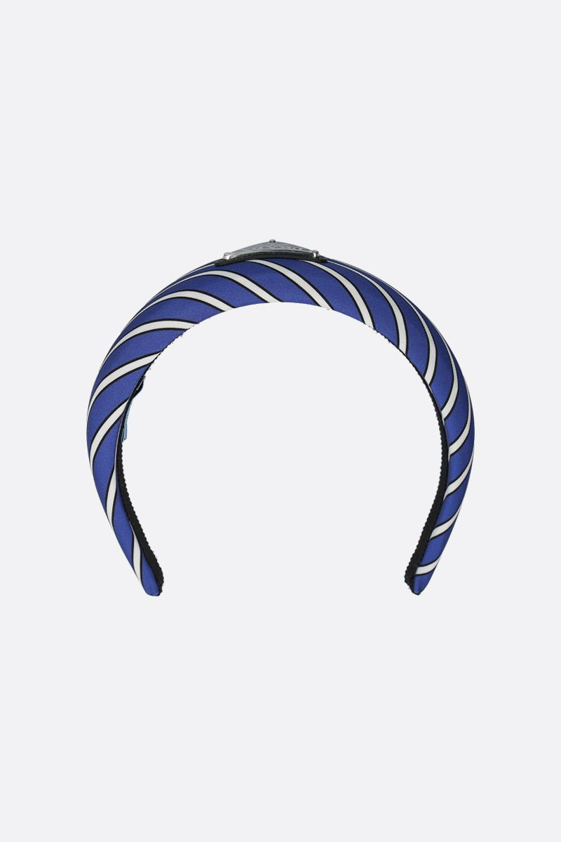 PRADA: traingle logo-detailed striped twill headband Color Blue_1