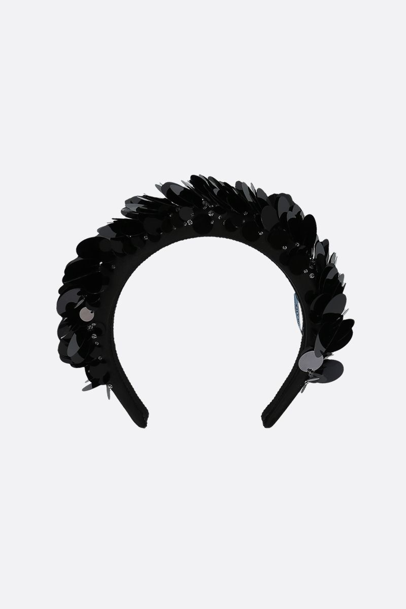 PRADA: sequin-embellished satin padded headband Color Black_1