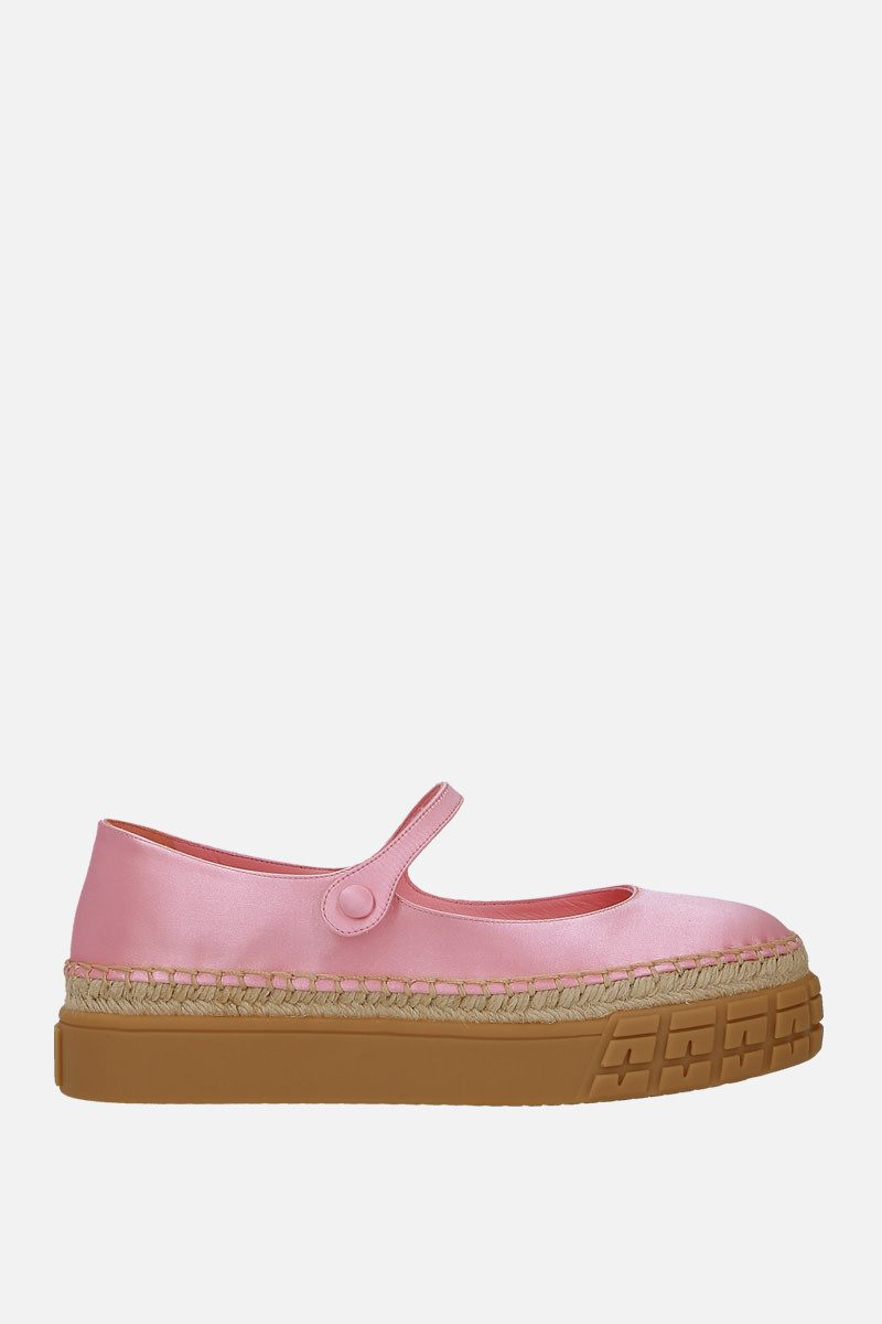 PRADA: shiny satin flatform ballerinas Color Pink_1