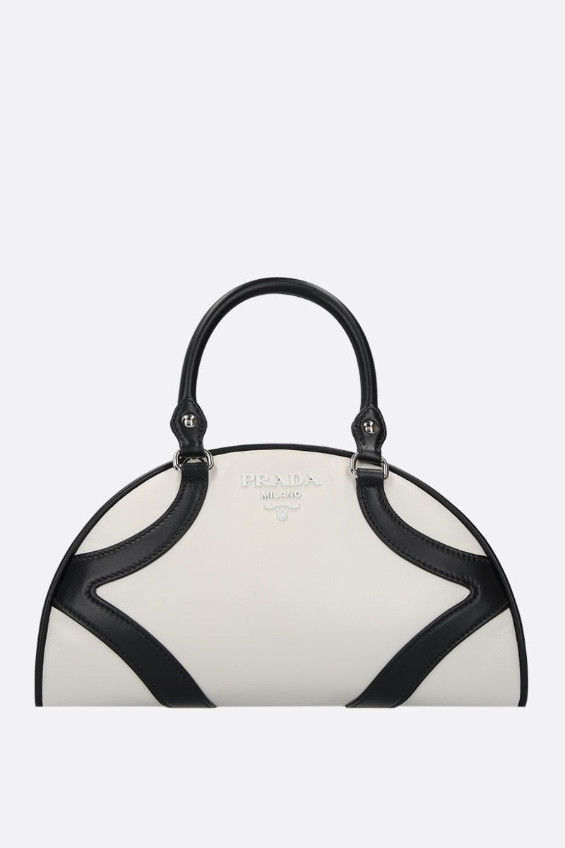 PRADA: Prada Bowling bicolour leather handbag Color White_1