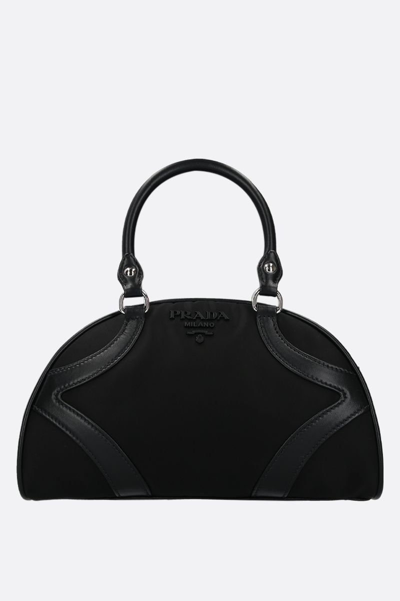PRADA: Prada Bowling handbag in nylon and smooth leather Color Black_1
