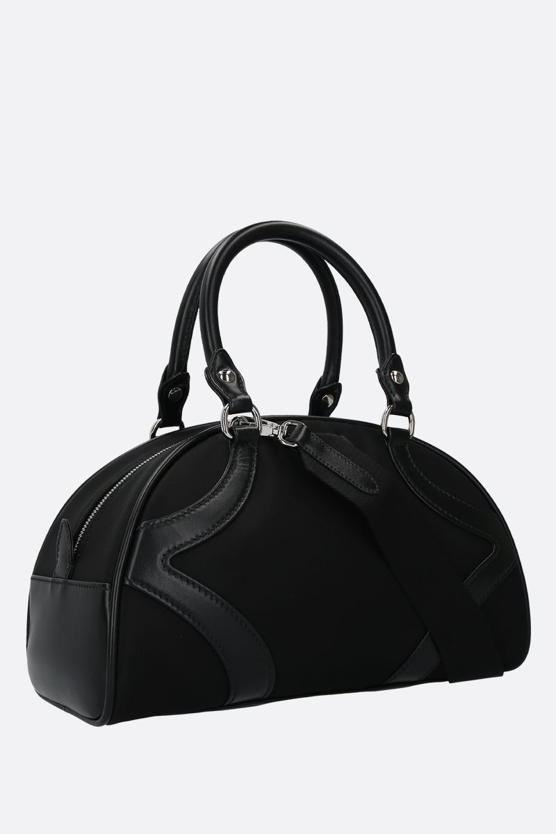 PRADA: Prada Bowling handbag in nylon and smooth leather Color Black_2