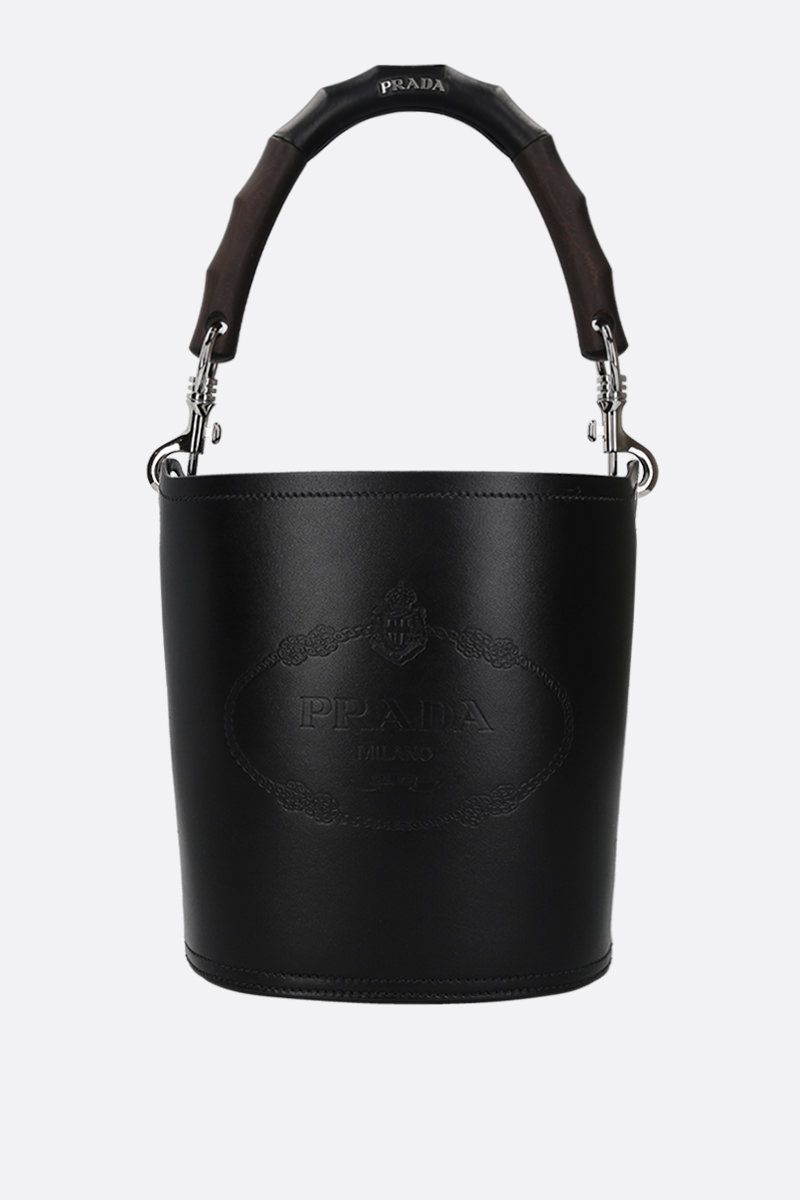 PRADA: City leather bucket bag Color Black_1