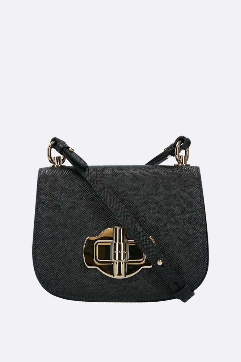 PRADA: Saffiano leather shoulder bag Color Black_1