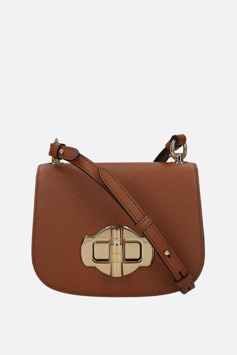 PRADA: Saffiano leather shoulder bag Color Brown_1