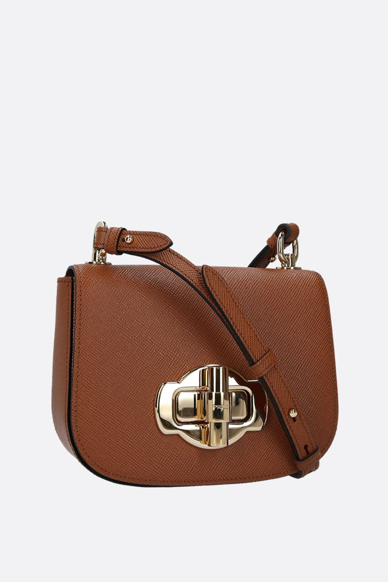 PRADA: Saffiano leather shoulder bag Color Brown_2