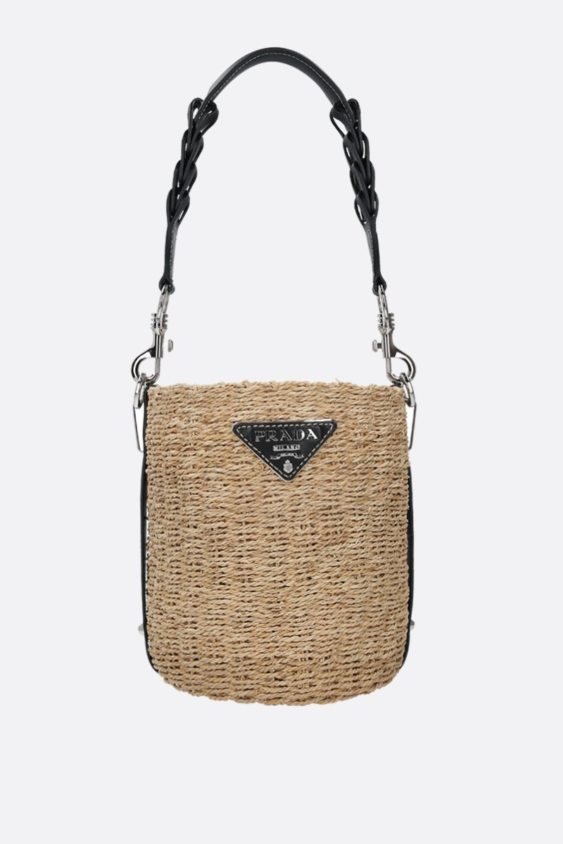 PRADA: straw and smooth leather bucket bag Color Black_1