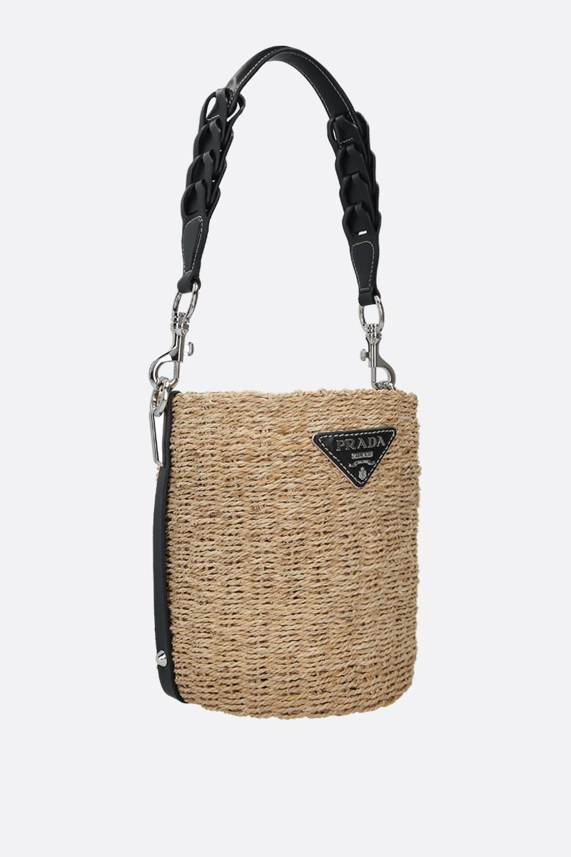 PRADA: straw and smooth leather bucket bag Color Black_2