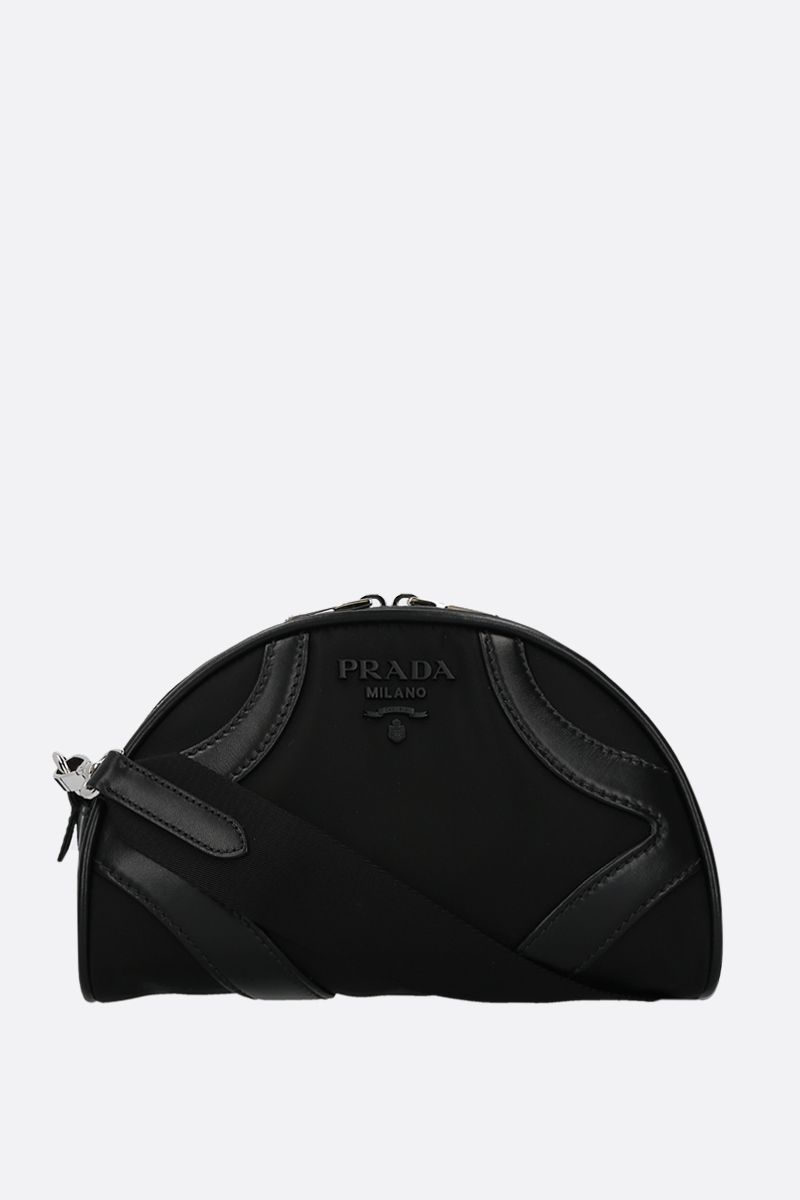 PRADA: Prada Bowling shoulder bag in nylon and smooth leather Color Black_1