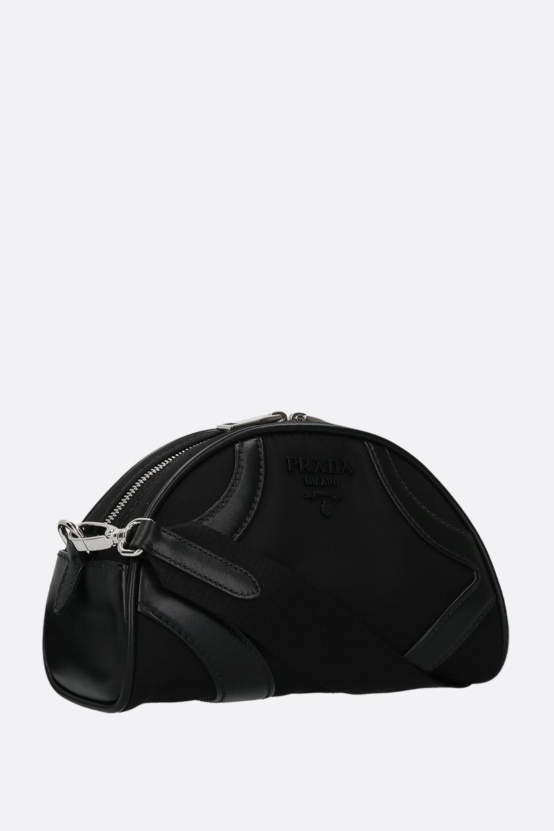 PRADA: Prada Bowling shoulder bag in nylon and smooth leather Color Black_2
