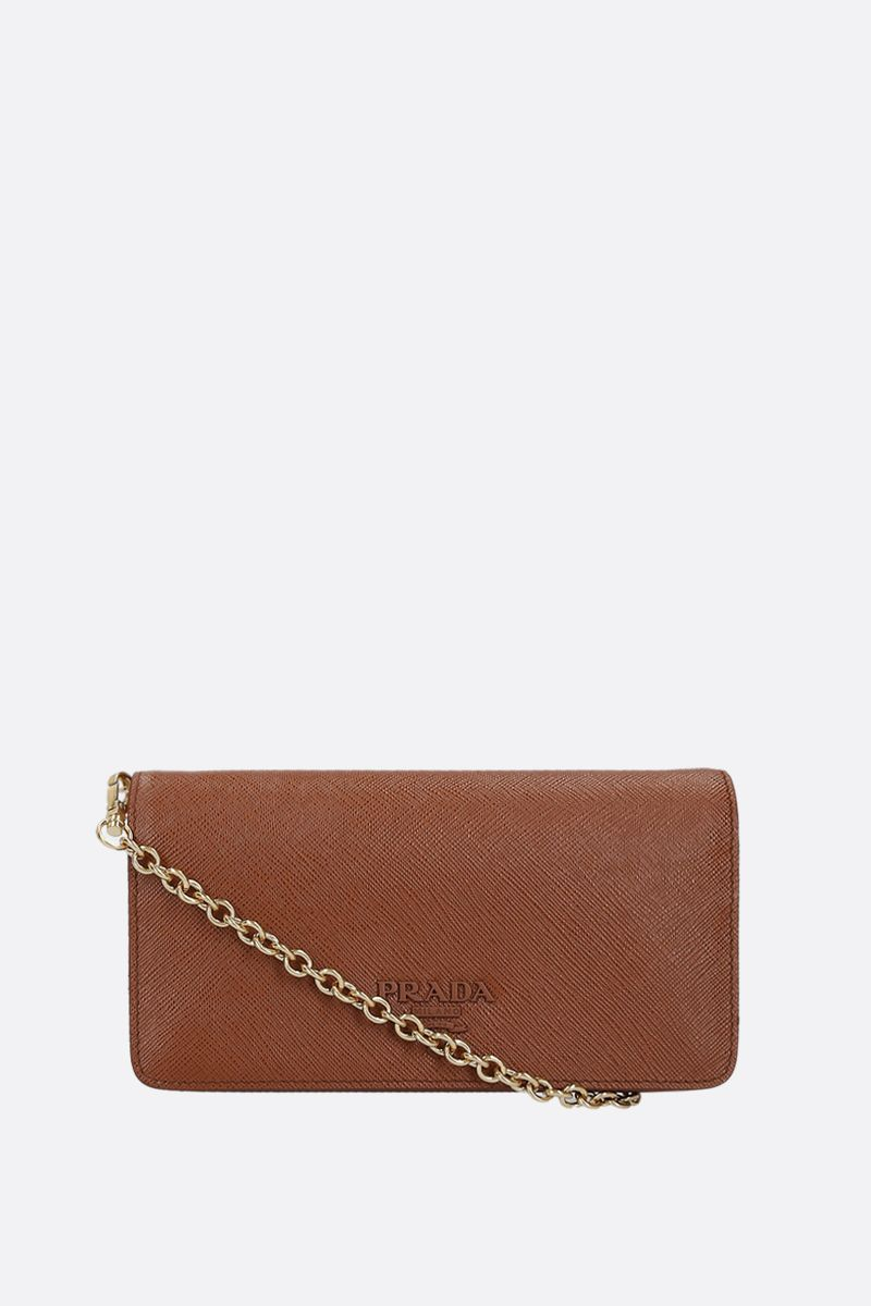 PRADA: Saffiano leather chain wallet Color Brown_1