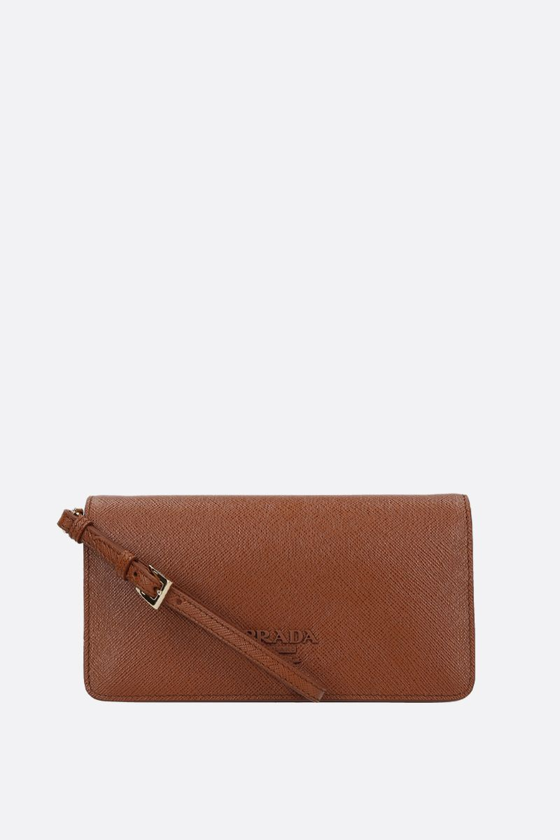 PRADA: Saffiano leather chain wallet Color Brown_2