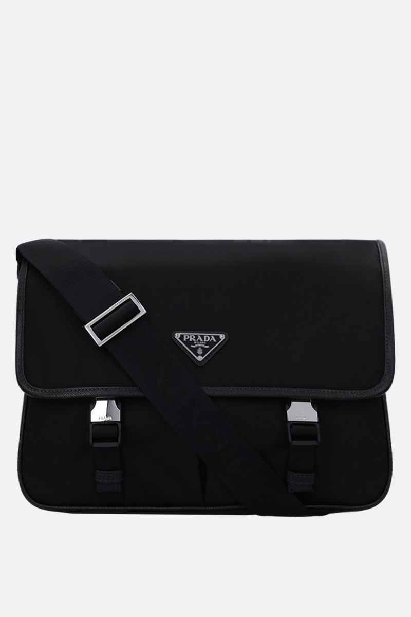 PRADA: nylon crossbody bag with Saffiano details Color Black_1