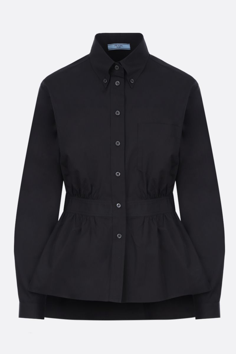 PRADA: poplin shirt with gathered detail Color Black_1