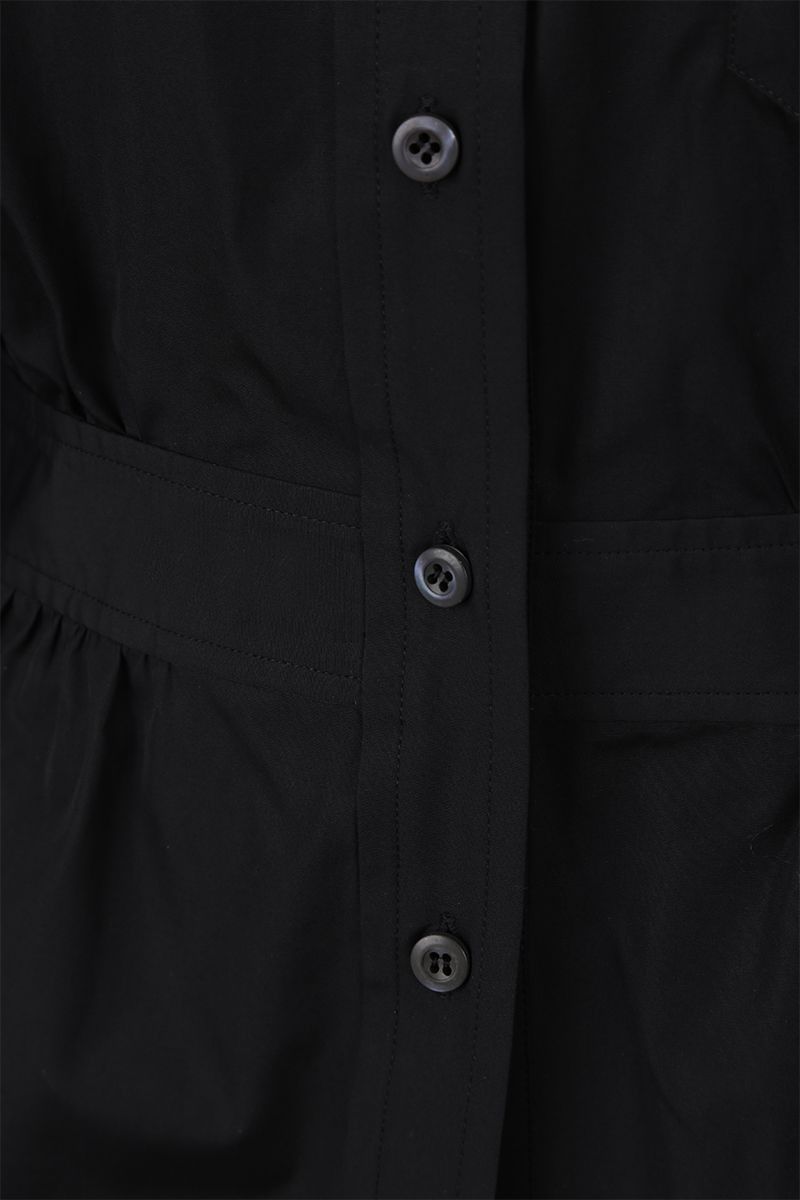 PRADA: poplin shirt with gathered detail Color Black_3