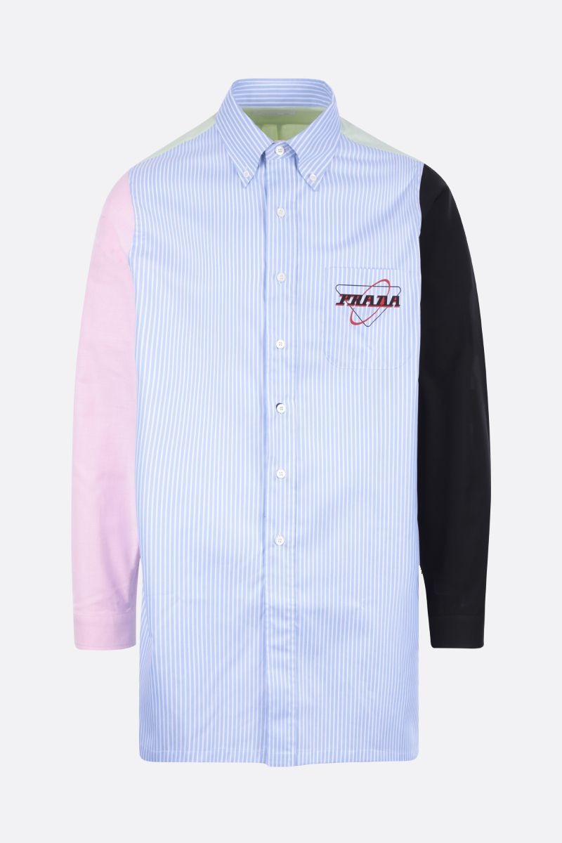 PRADA: Prada Oval print cotton long-fit shirt Color Blue_1