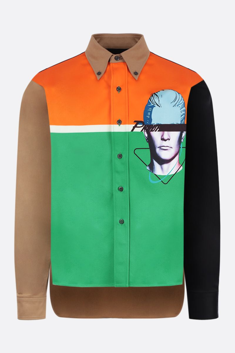 PRADA: Prada Visage printed cotton shirt Color Orange_1