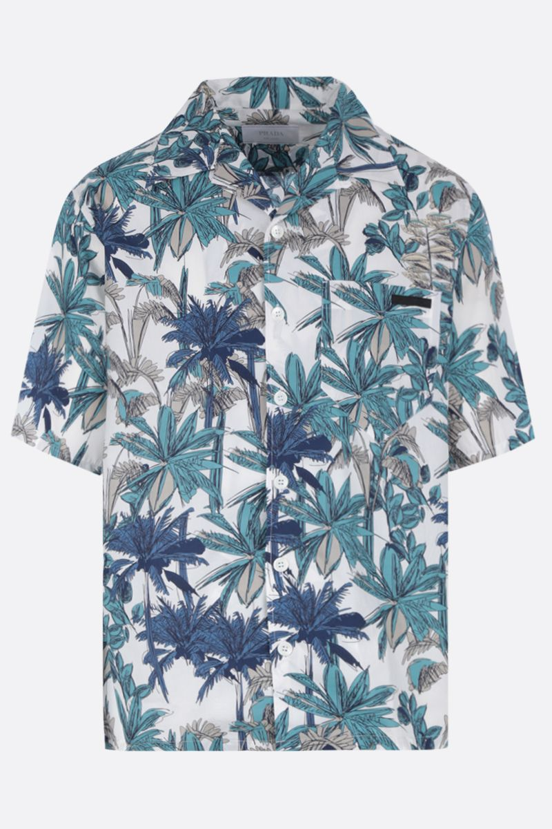PRADA: palms print poplin bowling shirt Color Green_1