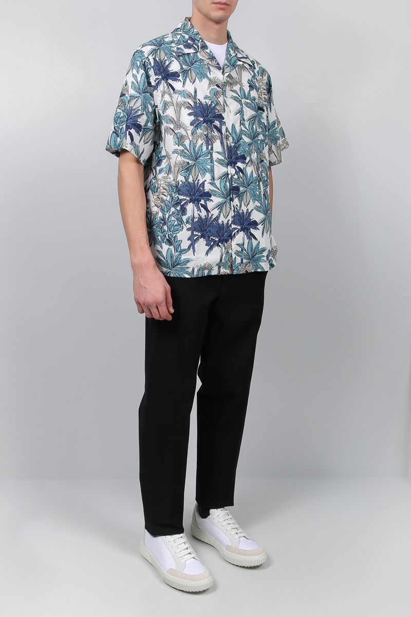 PRADA: palms print poplin bowling shirt Color Green_2