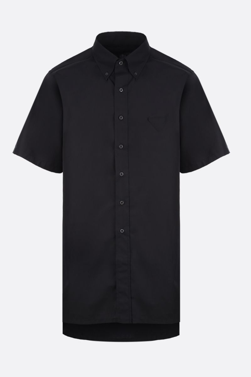 PRADA: oversized short-sleeve shirt in cotton Color Black_1