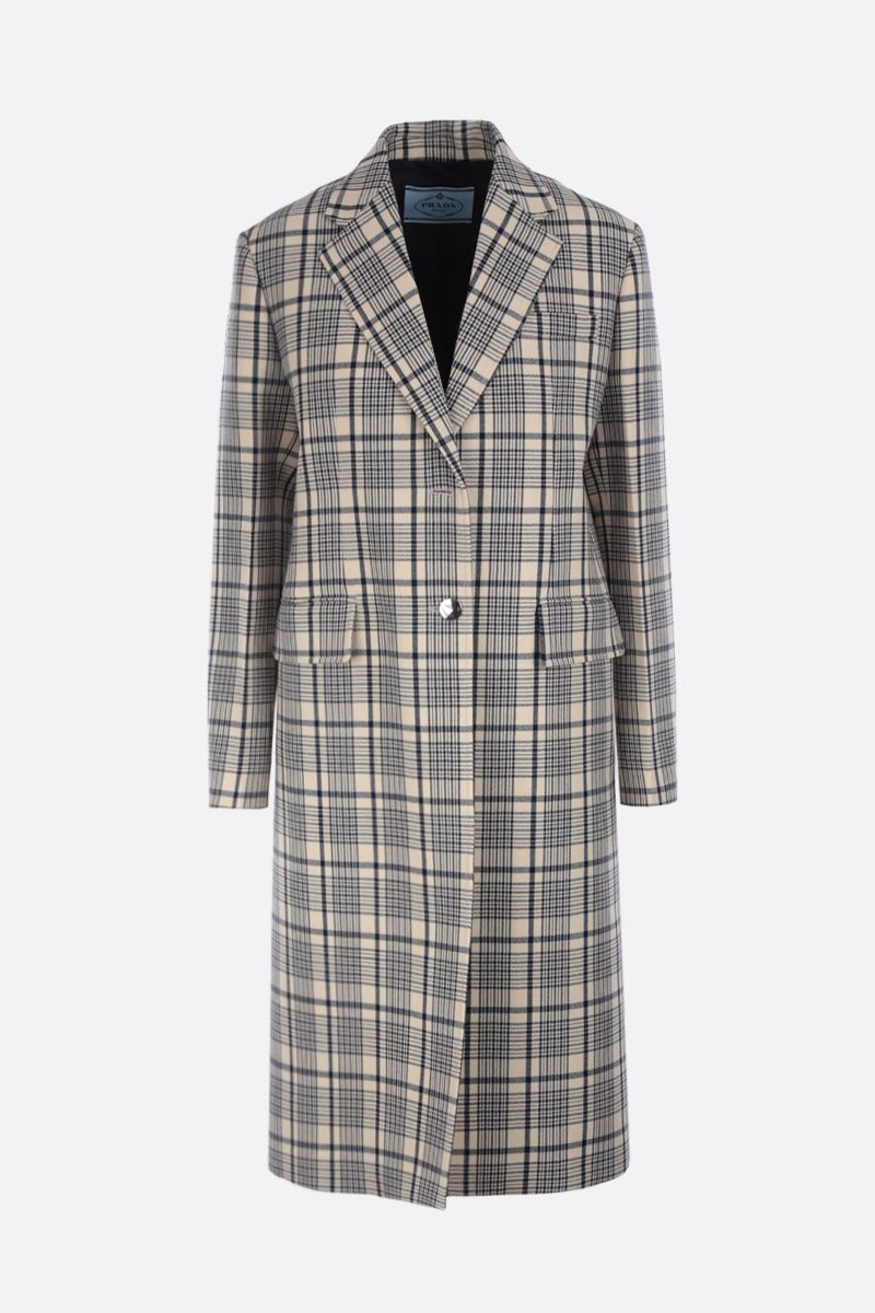 PRADA: check wool single-breasted coat Color Blue_1