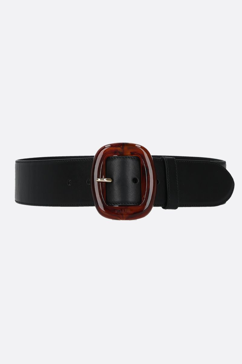 PRADA: resin buckle-detailed smooth leather belt Color Black_1