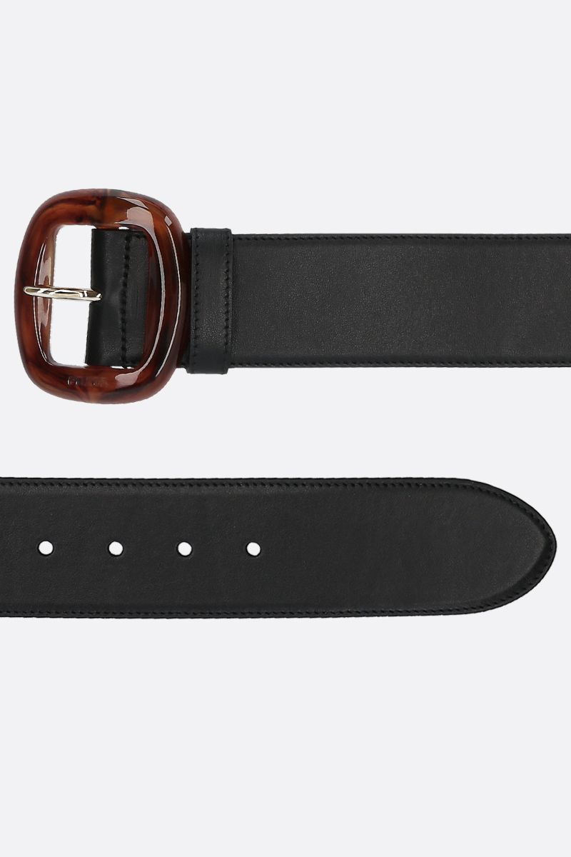 PRADA: resin buckle-detailed smooth leather belt Color Black_2