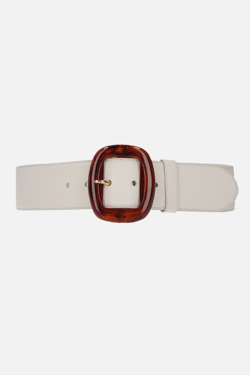 PRADA: resin buckle-detailed smooth leather belt_1