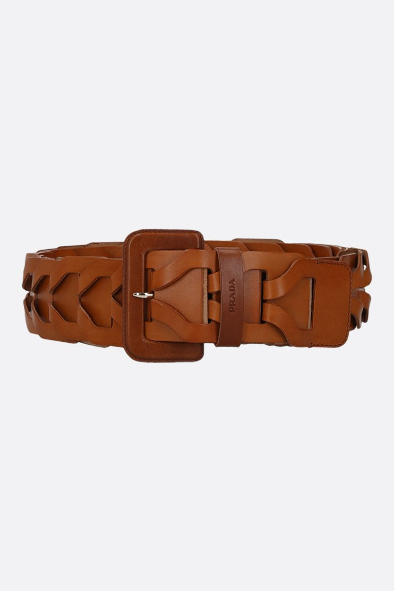 PRADA: woven leather waist belt Color Brown