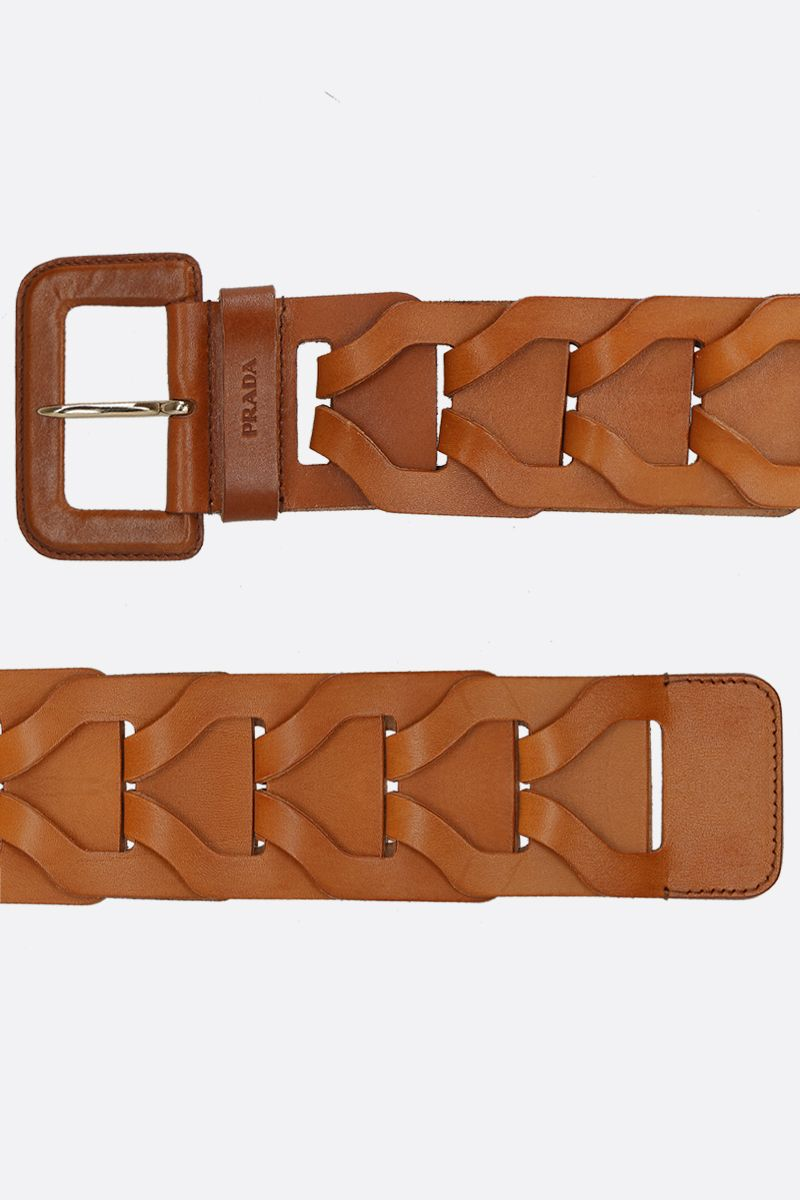 PRADA: woven leather waist belt Color Brown_2
