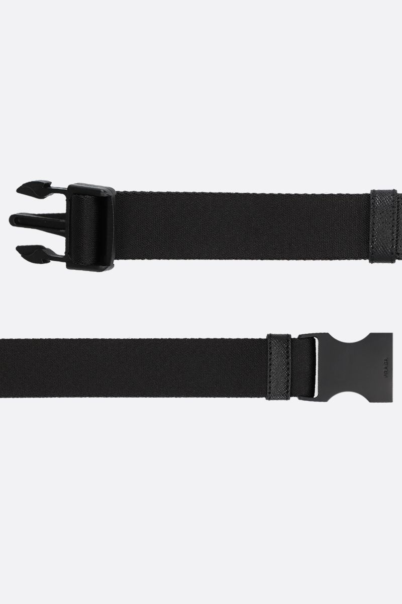 PRADA: tech nylon belt with logoed buckle Color Black_2