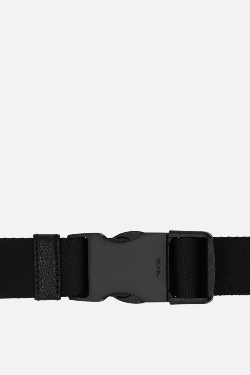 PRADA: tech nylon belt with logoed buckle Color Black_3