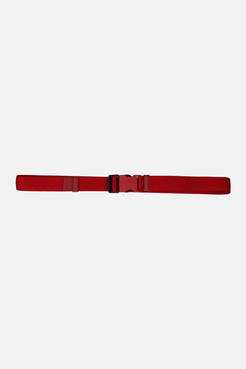 PRADA: tech nylon belt with logoed buckle Color Red_1