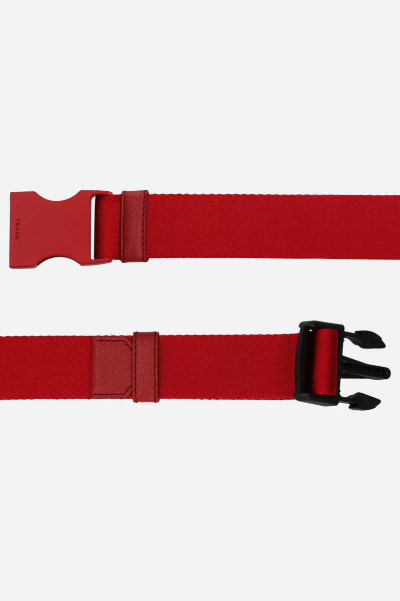 PRADA: tech nylon belt with logoed buckle Color Red_2