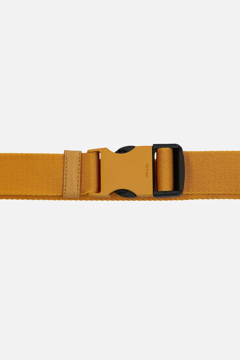 PRADA: tech nylon belt with logoed buckle Color Red_3