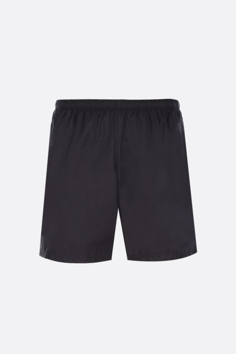 PRADA: logo patch-detailed nylon swimshorts Color Black_1